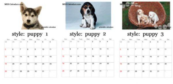 Free Puppy Calendar