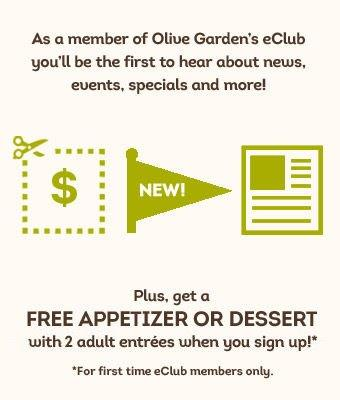Olive Garden eClub signup at Freestuff.com