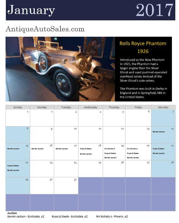 antiqueAutoSales.com 2017 Calendar